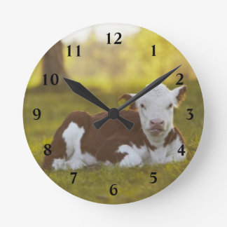 Calf Resting Round Clock