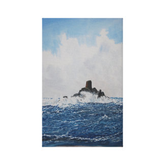 Calf Rock Lighthouse Watercolor Canvas Print