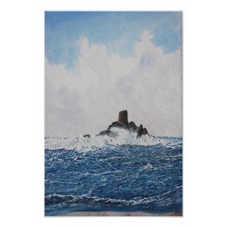 Calf Rock Lighthouse Watercolor Photo Print