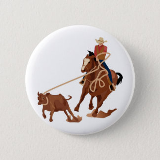 Calf Roping 2 Inch Round Button