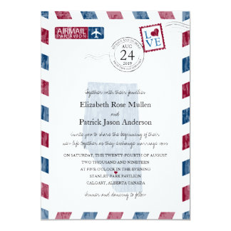 Calgary Alberta Canada Airmail Wedding Invitation