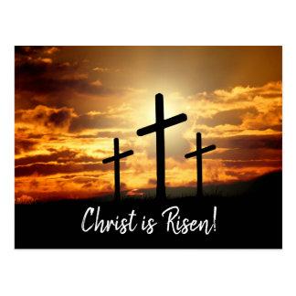 Calgary Crosses Sunrise Photo Easter Script Postcard