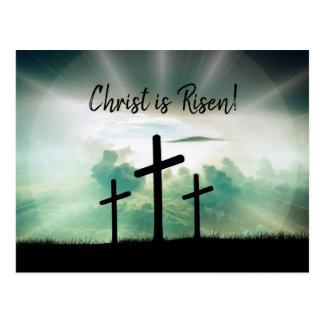 Calgary Crosses Sunrise Photo Risen Easter Script Postcard