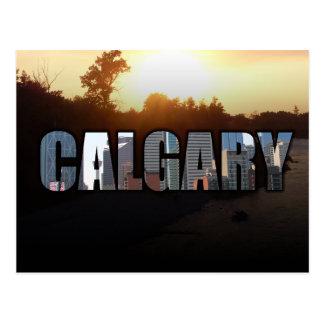 Calgary in Block letters postcard