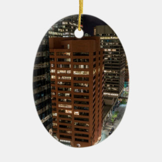 Calgary Night Skyline Ceramic Ornament
