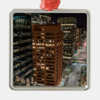 Calgary Night Skyline Metal Ornament