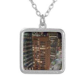 Calgary Night Skyline Silver Plated Necklace