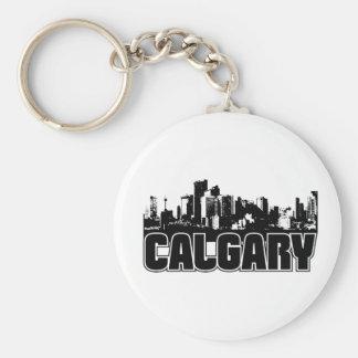 Calgary Skyline Basic Round Button Keychain