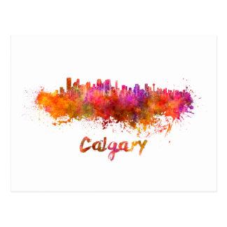 Calgary skyline in watercolor postcard