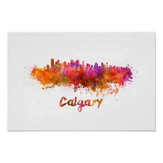 Calgary skyline in watercolor poster