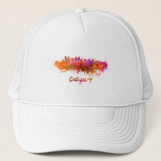 Calgary skyline in watercolor trucker hat
