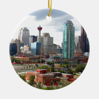 Calgary skyline with buildings and tower round ceramic ornament