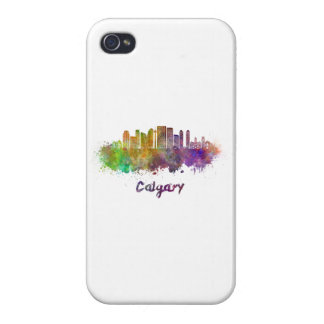 Calgary V2 skyline in watercolor Cover For iPhone 4