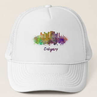 Calgary V2 skyline in watercolor Trucker Hat