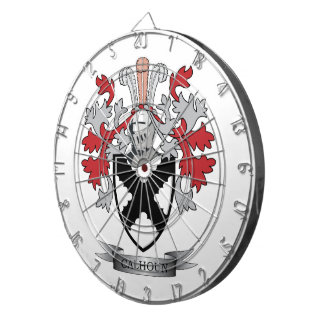 Calhoun Family Crest Coat of Arms Dartboard With Darts