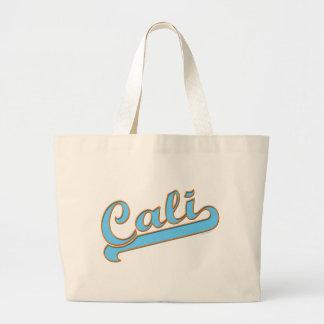 Cali California Surfer Logo in Blue Large Tote Bag