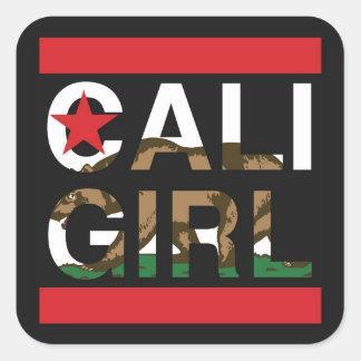 Cali Girl Rep Red Square Sticker