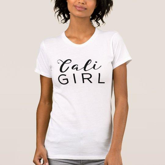 CALI GIRL Trendy Black Script Calligraphy Modern T-Shirt