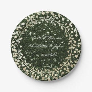 Cali Green Glitter Foxier Gold Wreath Garland Paper Plate