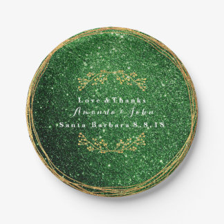 Cali Green Greenery Gold Floral Glitter Wedding 7 Inch Paper Plate