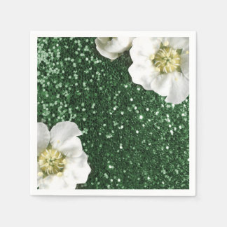 Cali Green Greenery Jasmin Glitter Sequin Sparkl Napkin