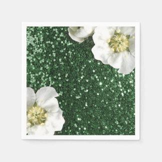 Cali Green Greenery Jasmin Glitter Sequin Sparkl Paper Napkins