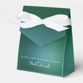 Cali Green Metallic Name Branding Beauty Salon Favor Box
