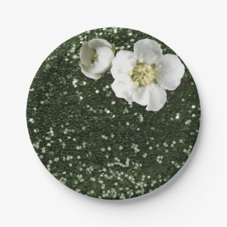 Cali Green Sequin Floral White Jasmine Glitter 7 Inch Paper Plate