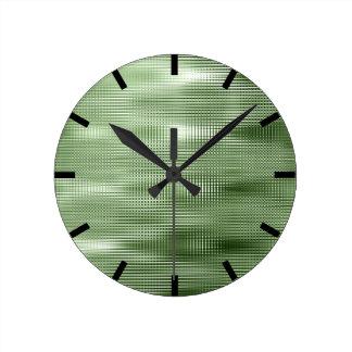 Cali Mint Green Black Metallic Abstract Lux Round Clock