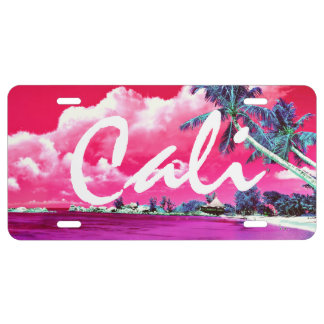 Cali Palm Trees Aluminum License Plate