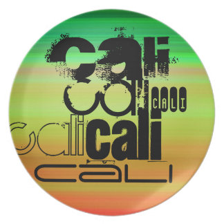 Cali; Vibrant Green, Orange, & Yellow Dinner Plates
