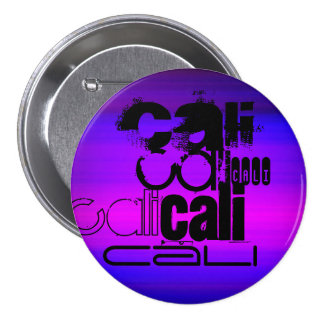 Cali; Vibrant Violet Blue and Magenta 3 Inch Round Button