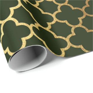 Cali Woodland Green Gold Quatrefoil Art Deco Net Wrapping Paper