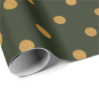 Cali Woodland Green Metallic Small Polka Dots Wrapping Paper