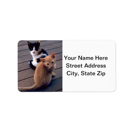 Calico and Orange Kittens Label