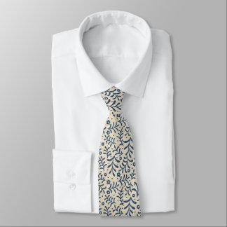 Calico Blue and Cream Faux Denim Tie
