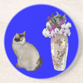 Calico Cat And Flowers Coaster