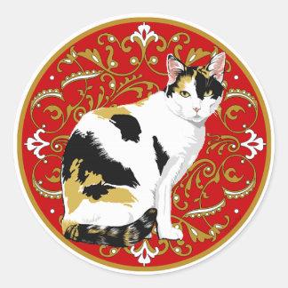 Calico Cat Baroque Classic Round Sticker