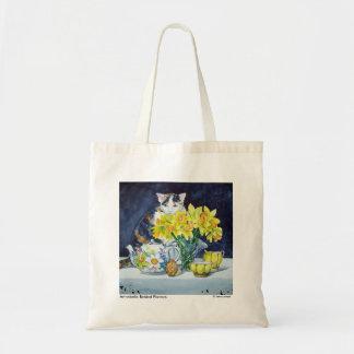 Calico Cat Behind Flowers Tote Bag