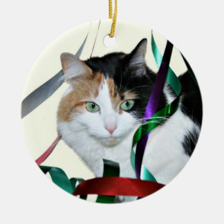 Calico cat Christmas ribbon Ceramic Ornament