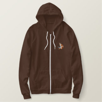 Calico Cat Embroidered Hooded Sweatshirt