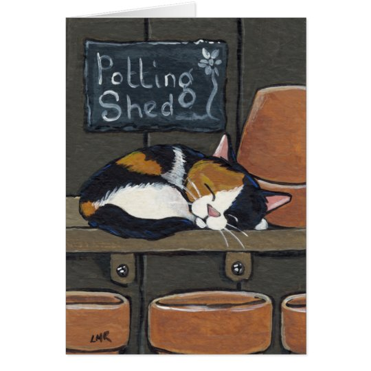 Calico Cat in the Potting Shed Greeting Card