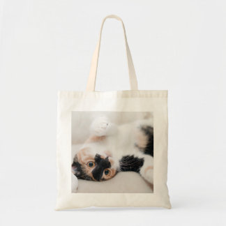 Calico Cat Laying on his back with paws up Tote Bag