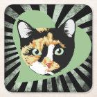 Calico cat love square paper coaster