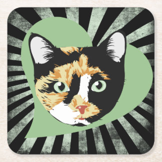 Calico cat love square paper coaster