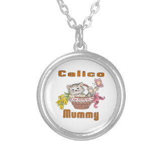 Calico Cat Mom Silver Plated Necklace