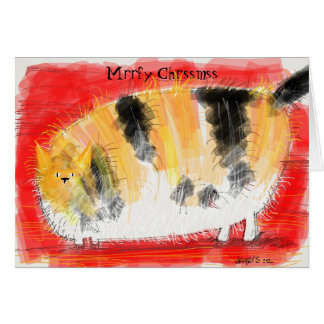 Calico cat on red cards Christmas edition