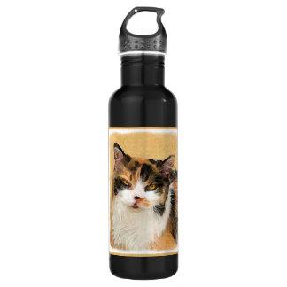 Calico Cat Painting - Cute Original Cat Art 710 Ml Water Bottle
