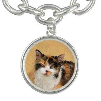 Calico Cat Painting - Cute Original Cat Art Charm Bracelet