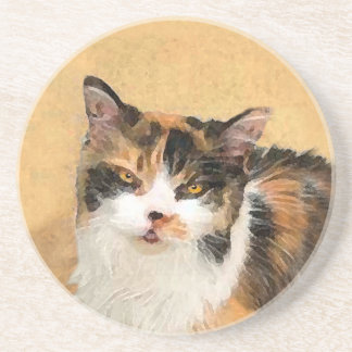 Calico Cat Painting - Cute Original Cat Art Coaster